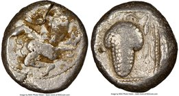 CILICIA. Soloi. Ca. 440-400 BC. AR stater (19mm, 7h). NGC Fine, test cut. Amazon, nude to waist, on one knee left, wearing pointed cap, bowcase attach...