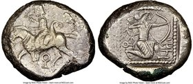 CILICIA. Tarsus. Ca. late 5th century BC. AR stater (21mm, 11h). NGC Choice XF. Satrap on horseback riding left, reins in left hand, lotus upward in r...
