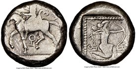 CILICIA. Tarsus. Ca. late 5th century BC. AR stater (19mm, 10.57 gm, 7h). NGC VF 2/5 - 4/5. Satrap on horseback riding left, reins in left hand, lotus...