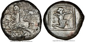 CILICIA. Tarsus. Ca. late 5th century BC. AR stater (20mm, 2h). NGC VF. Satrap on horseback riding left, reins in left hand, lotus upward in right; ea...
