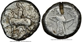 CILICIA. Tarsus. Ca. late 5th century BC. AR stater (20mm, 10.64 gm, 9h). NGC VF 4/5 - 2/5, test cut. Satrap on horseback riding left, reins in left h...