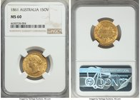 Victoria gold Sovereign 1861-SYDNEY MS60 NGC, Sydney mint, KM4. A charming Mint State example of this early Australian Sovereign, perfectly struck wit...