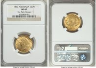 Victoria gold Sovereign 1863-SYDNEY MS62 NGC, Sydney mint, KM4. An exceptional rarity in Mint State, the single highest certified example of this date...