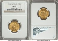 Victoria gold Sovereign 1866-SYDNEY MS62 NGC, Sydney mint, KM4. A very pleasing representative of this popular early Australian type; surfaces far cle...