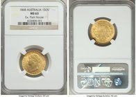 Victoria gold Sovereign 1868-SYDNEY MS63 NGC, Sydney mint, KM4. An exceptional example, at the highest grade level for the type save for one MS63+ exa...