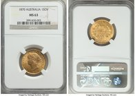 Victoria gold Sovereign 1870-SYDNEY MS63 NGC, Sydney mint, KM4. The final date of production for this first Australian Sovereign type, seldom seen so ...