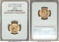 "Victoria gold ""Shield"" Sovereign 1871-S MS62 NGC, Sydney mint, KM6, S-3858A. Incuse WW on truncation. Premium for the grade with bright cartwheel lust..."