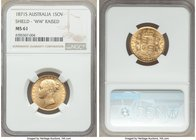"Victoria gold ""Shield"" Sovereign 1871-S MS61 NGC, Sydney mint, KM6, S-3858A. Raised WW on truncation. Lustrous, light striking softness to Victoria's ..."