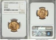 "Victoria gold ""Shield"" Sovereign 1872-M MS62 NGC, Melbourne mint, KM6. Near-choice, a resplendent Sovereign with clean surfaces and captivating cartwh..."