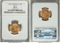 "Victoria gold ""Shield"" Sovereign 1872-S MS62 NGC, Sydney mint, KM6. The highest grade level for this type at NGC and PCGS. Clearly a near-choice offer..."