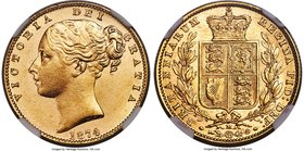 "Victoria gold ""Shield"" Sovereign 1874-M MS63 NGC, Melbourne mint, KM6. Tied for finest graded by either NGC or PCGS with just one other example, an ea..."