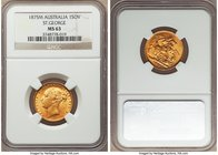 "Victoria gold ""St. George"" Sovereign 1875-M MS63 NGC, Melbourne mint, KM7. Some striking softness on the obverse, but very limited evidence of contact..."