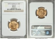 "Victoria gold ""Shield"" Sovereign 1875-S MS62 NGC, Sydney mint, KM6. Immediately captivating, its quality obviously high for its certified grade with s..."