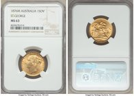 "Victoria gold ""St. George"" Sovereign 1876-M MS63 NGC, Melbourne mint, KM7. A pleasing, lustrous representative. AGW 0.2354 oz.   HID09801242017"