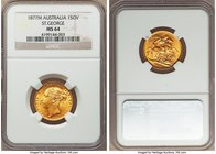"Victoria gold ""St. George"" Sovereign 1877-M MS64 NGC, Melbourne mint, KM7. Tied for finest certified by either NGC or PCGS. Strike well centered, with..."