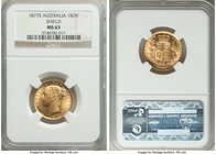 "Victoria gold Sovereign ""Shield"" 1877-S MS63 NGC, Sydney mint, KM6. Die cracks to the obverse, otherwise pristine and with shimmering mint luster.  HI..."