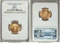 "Victoria gold ""Shield"" Sovereign 1878-S MS64 NGC, Sydney mint, KM6. Very fresh surfaces with dazzling cartwheel luster, a splendid Sovereign at the hi..."