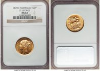 "Victoria gold ""St. George"" Sovereign 1879-M MS62 NGC, Melbourne mint, KM7. Aglow with scintillating cartwheel luster, a captivating near-choice jewel ..."