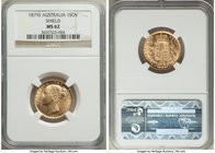"Victoria gold ""Shield"" Sovereign 1879-S MS62 NGC, Sydney mint, KM6. Crackling with luster, a true Mint State selection worthy of an even higher certif..."