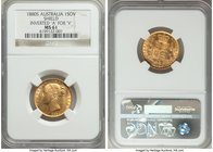 "Victoria gold ""Shield"" Sovereign 1880-S MS61 NGC, Sydney mint, KM6, S-3855. Inverted ""A"" for ""V"" in VICTORIA. The single finest graded example of this..."
