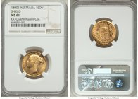 "Victoria gold ""Shield"" Sovereign 1880-S MS61 NGC, Sydney mint, KM6. Lustrous and visually appealing; light friction to Victoria's cheek and minor mark..."
