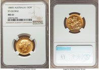 "Victoria gold ""St. George"" Sovereign 1880-S MS61 NGC, Sydney mint, KM7. Very strong for the grade, the only notable marks some scratches to the obvers..."