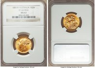 "Victoria gold ""St. George"" Sovereign 1881-M MS63 NGC, Melbourne mint, KM7. Highly lustrous, a more popular date/mintmark combination not often encount..."