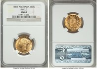 "Victoria gold ""Shield"" Sovereign 1881-S MS63 NGC, Sydney mint, KM6. Truly choice with flowing satin luster and seemingly no significant wear whatsoeve..."