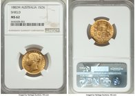 "Victoria gold ""Shield"" Sovereign 1882-M MS62 NGC, Melbourne mint, KM6. A sharp and lustrous representative. AGW 0.2354 oz.   HID09801242017"
