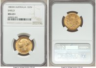 "Victoria gold ""Shield"" Sovereign 1883-M MS63+ NGC, Melbourne mint, KM6, S-3854A. The single second highest certified example of this date rarity, the ..."