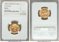 "Victoria gold ""St. George"" Sovereign 1883-M MS63 NGC, Melbourne mint, KM7. Scarce in this grade, struck to an impeccable standard with watery fields. ..."