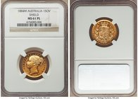 "Victoria gold ""Shield"" Sovereign 1884-M MS61 Prooflike NGC, Melbourne mint, KM6, S-3854A. Just two specimens of this date have been deemed 'Prooflike'..."