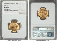 "Victoria gold ""Shield"" Sovereign 1884-S MS63+ NGC, Sydney mint, KM6. Minor contact marks, yet clearly deserving of its coveted 'plus' designation with..."