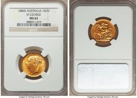 "Victoria gold ""St. George"" Sovereign 1884-S MS63 NGC, Sydney mint, KM7. A firmly choice offering, the obverse exhibiting the usual satin luster whilst..."