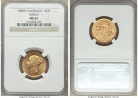 "Victoria gold ""Shield"" Sovereign 1885-M MS62 NGC, Melbourne mint, KM6, S-3854A. Lustrous, approaching prooflike reflectivity in elements of the revers..."