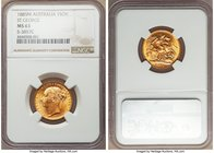 "Victoria gold ""St. George"" Sovereign 1885-M MS63 NGC, Melbourne mint, KM7, S-3857C. Sleek and unmarred surfaces provide the perfect backdrop to showca..."