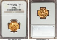 "Victoria gold ""St. George"" Sovereign 1886-M MS63 NGC, Melbourne mint, KM7. An inviting choice Sovereign bearing much mint frost and limited evidence o..."