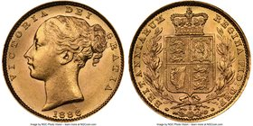 "Victoria gold ""Shield"" Sovereign 1886-S MS63+ NGC, Sydney mint, KM6. Beyond choice, surfaces sleek and glowing with silky luster, the planchet excepti..."