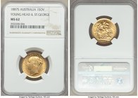 "Victoria gold ""St. George"" Sovereign 1887-S MS62 NGC, Sydney mint, KM7. Bordering on choice, the final year for Victoria's young head. Boldly struck w..."