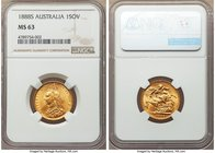 Victoria gold Sovereign 1888-S MS63 NGC, Sydney mint, KM10, S-3868B. Bearing slight weakness to the high points of Victoria's portrait as is common fo...