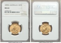 Victoria gold Sovereign 1890-S MS64 NGC, Sydney mint, KM10. Highly lustrous, some striking weakness to Victoria's Jubilee portrait as is usual but no ...