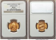 "Victoria gold ""Jubilee"" Sovereign 1893-M MS63 NGC, Melbourne mint, KM10. The changeover year from Victoria's Jubilee portrait to her final Veiled Head..."