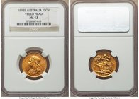 "Victoria gold ""Veiled Head"" Sovereign 1893-S MS62 NGC, Sydney mint, KM13. Victoria's portrait has been particularly well-struck on this example, super..."