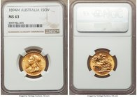 Victoria gold Sovereign 1894-M MS63 NGC, Melbourne mint, KM13. Very attractive for the grade; in fact, this Sovereign immediately captures the eye for...