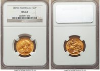 Victoria gold Sovereign 1895-M MS63 NGC, Melbourne mint, KM13. Appealingly toned to a dusky butterscotch, slight evidence of handling as one would exp...