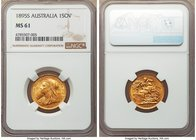 Victoria gold Sovereign 1895-S MS61 NGC, Sydney mint, KM13. Strong for the grade, the surfaces exhibiting scattered bagmarks but nothing major. AGW 0....