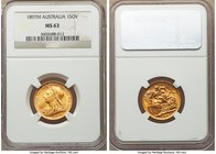 Victoria gold Sovereign 1897-M MS63 NGC, Melbourne mint, KM13. Lustrous and appealing, clearly a coin which has seen very limited circulation. AGW 0.2...