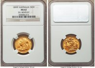 Victoria gold Sovereign 1899-P MS62 NGC, Perth mint, KM13. The first date of production for Sovereigns at Perth. Peppered with light contact marks, cl...