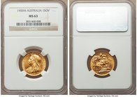 Victoria gold Sovereign 1900-M MS63 NGC, Melbourne mint, KM13. An especially bright Sovereign with flashy fields and a far sharper portrait of Victori...