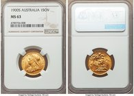 Victoria gold Sovereign 1900-S MS63 NGC, Sydney mint, KM13. A scarcer Sydney issue particularly in this high of a grade. Enchanting silky luster grace...